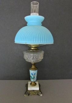 Blue Porcelain Marble Plume & Atwood Student Oil Lamp-Electric #vintage #marble #oil #lamp