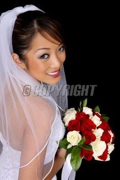 A beautiful asian bride on her wedding day