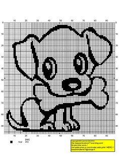 Puppy with a Bone - Free Cross Stitch Chart Free Cross Stitch Charts, Cross Stitch For Kids, Cross Stitch Animals, Cross Stitch Patterns, Cross Stitching, Cross Stitch Embroidery, Dog Pattern, Tapestry Crochet, Knitting Charts