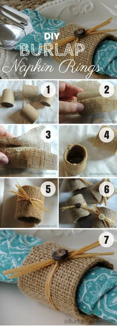 Easy to make DIY Burlap Napkin Rings for fall decor @istandarddesign