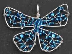 Angela Smith Jewellery blue wire and bead butterfly