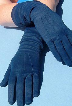 Vintage 1950s Navy Ladies Mid Length Gloves by QueensParkVintage, $30.00
