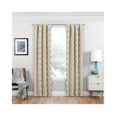 Morrow Thermaweave Blackout Curtain Panel Gold ($15) ❤ liked on Polyvore featuring home, home decor, window treatments, curtains, gold, eclipse curtains, eclipse window panel, black out window panels, target blackout curtains and gold window panels