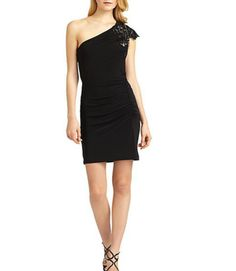 Great Dress to wear to a wedding or cocktail party dress One Shoulder Dress Little Black Dress Mark & James By Badgley Mischka Embellished One-Shoulder Cocktail Dress — RENT SOME FASHION  $45