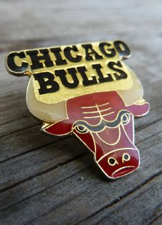Vintage Chicago Bulls enamel pin lapel pin by OatesGeneral on Etsy