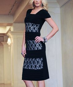 Love this Black Lace-Panel Sheath Dress by Diviine ModesTee on #zulily! #zulilyfinds