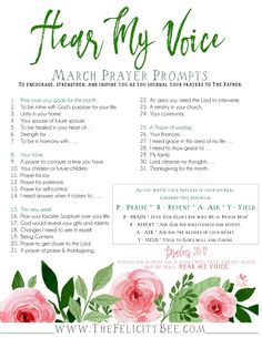 To download your Prayer Journal Prompts, CLICK this PIN. Hear My Voice Prayer Journal Prompts. Prayer journaling has the ability to transform your prayer time as you focus your prayers to the Father. These prompts are designed to ignite your prayer life and remind you that our Father  hears your voice.
