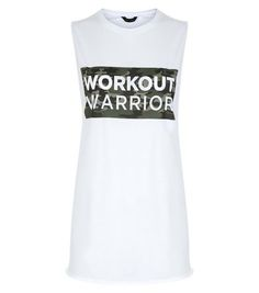 White Workout Warrior Camo Print Tank Top  | New Look