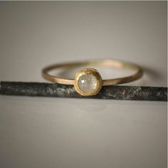 Recycled 22k & 14k Gold Textured Ring with Beautiful Rose Cut Diamond. Ethical, simple, beautiful.