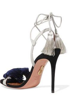 Aquazzura - Johanna Ortiz Tasseled Two-tone Suede Sandals - Navy - IT38.5