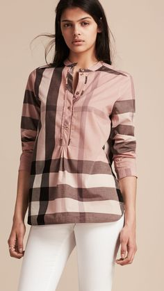 Shop the latest womenswear from Burberry including seasonal trench coats, leather jackets, dresses, denim and skirts. Camisa Burberry, Burberry Shirt, Burberry Plaid, Ruffle Shirt, Tunic Shirt, Shirt Sleeves, Cotton Tunics, Kids Wear, Pints