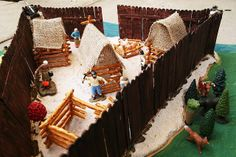 JAMESTOWN Fort constructed with popsicle sticks and Jamestown Settlers TOOB. SOTW 3: Chapter 3.