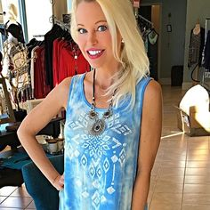 Baby blue tie dye tribal dress! Amazing color and design! One of my favorite pieces - swing cut with dip in back- a must!! En Creme Dresses