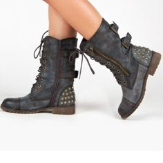New Gorgeous Charcoal Rustic Brown Combat Boots