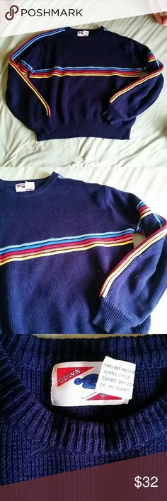 REAL VINTAGE RETRO 70S SKI SWEATER STRIPED Was my moms in the 70s Excellent preowned vintage condition  Looks new Marked men's xl, but more a womens large Vintage Tops
