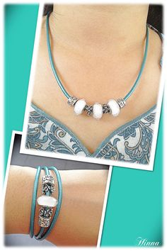 PANDORA Smooth Triple Leather Teal Bracelet Worn as Necklace with Murano.