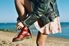 leather jacket and red doc martens.