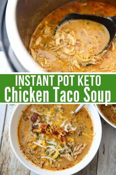 Thick creamy and loaded with shreds of chicken this Keto Chicken Taco Soup is an easy quick recipe that can be made in the Instant Pot or Crock-pot keto soup recipe keto instant pot recipe low carb soup recipe keto chicken recipes keto lowcarb Low Carb Soup Recipes, Healthy Recipes, Crock Pot Soup Recipes, Instapot Soup Recipes, Low Carb Taco Soup, Low Carb Chicken Recipes, Instapot Chicken Soup, Recipes With Chicken Broth, Low Calorie Soups