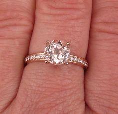 Custom Order 14k Rose Gold Diamond Accented Engagement Ring with 14k Plain Rose Gold Wedding Band