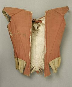 """Metropolitan Museum of Art Stays late 18th century British silk L 18 1/2"""" x 13"""" Accession Number 13.49.1"""