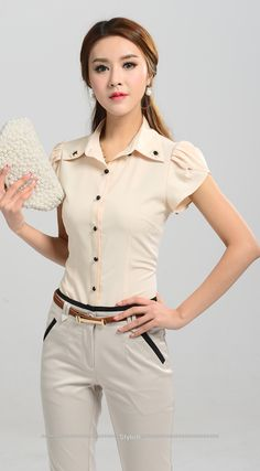Free Shipping S XXL Formal Office Wear For Women 2014 New Elegant Professional Short Butterfly Sleeve Slim Blouses Shirt Uniform-in Blouses & Shirts from Women's Clothing & Accessories on Aliexpress.com | Alibaba Group