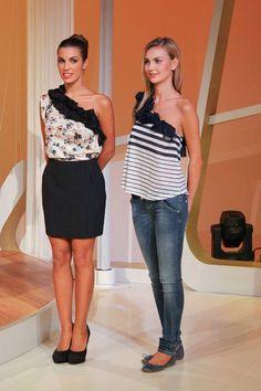 Alcune proposte per la nuova edizione della trasmissione DettoFatto, le maglie monospalla con decori alternabili.