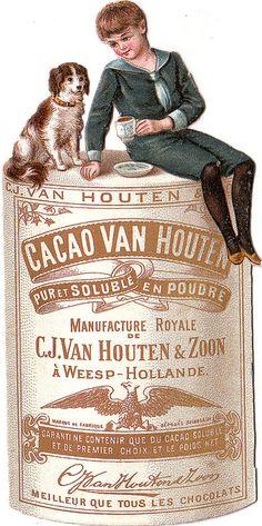 Vintage Victorian Digital Graphic Image Boy, Dog, and Van Houten Coaco