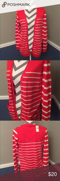 NWT red and white stripe Gap cardigan. Great traditional cardigan. NWT great length! Longer than usual. GAP Sweaters Cardigans