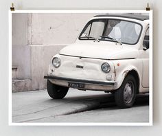 Paris Photography  Fiat Car Print  16x20 French by littlebrownpen, $75.00
