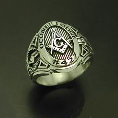 Customized Masonic ring cigar band style in sterling silver Silver Jewelry, Silver Rings, Men's Jewelry, Jewellery, Silver Bracelets, Jewelry Sets, Jewelry Design, Argent Sterling, Sterling Silver