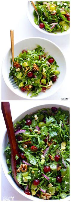 Grape, Avocado & Arugula Salad -- this simple salad is fresh, light, and full of wonderful sweet flavors you'll love! | gimmesomeoven.com #salad #recipe #glutenfree