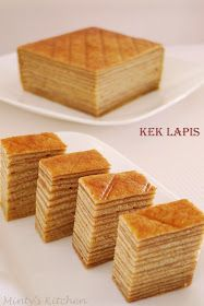 Dutch-Indonesian cake which is also known as Lapis Legit (Indonesian) or Spekkoek (Dutch) or A Thousand Layer Cake (English) is a ric. Indonesian Desserts, Asian Desserts, Indonesian Food, Sweet Desserts, Asian Snacks, Layer Cake Recipes, Dessert Recipes, Food Cakes, Cupcake Cakes