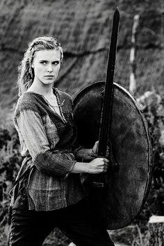 Thorunn. Vikings, great tv, female beauty, shield maiden, powerful face, costume, intense eyes, portrait, photo b/w.