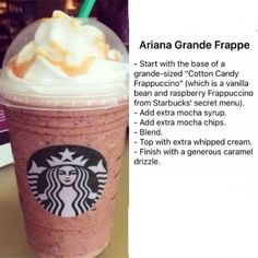 How to Make Your Favorite Starbucks Drink at Home How to Make Your Favorite Starbucks Drink at Home,Smoothies The Ariana Grande FrappuccinoThe recipe is on the picture as Im going to do for the. Starbucks Frappuccino, Starbucks Hacks, Starbucks Secret Menu Items, How To Order Starbucks, Starbucks Secret Menu Drinks, Frappuccino Recipe, Ariana Grande, Coffee Recipes, Mugs
