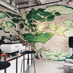 A newly opened Equator @equatorcoffees on Market and 6th. I am obsessed with the mural (designed by Tenderloin street artist Mona Caron.) Equator is local, based in Marin, and I'm a huge fan of their coffee and their spaces. #outwithlocals #localxSF   Photo by @ceciliaxyang