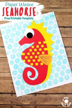 Try this gorgeous Paper Weaving Seahorse Craft. One of a three part Beach Paper Weaving Series which includes an adorable Paper Weave Fish and Paper Weave Crab too. Each craft comes with a free printa Seahorse Crafts, Ocean Crafts, Fish Crafts, Beach Crafts, Dinosaur Crafts, Summer Crafts, Summer Activities For Kids, Craft Activities, Preschool Crafts