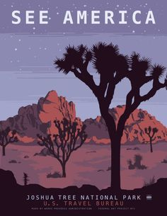 See America poster showing the beauty of Joshua Tree National Park in Southeastern California. Illustration by Steven Thomas in Retro Poster, Poster Vintage, Vintage Travel Posters, Vintage National Park Posters, Tourism Poster, Kunst Poster, Us National Parks, Illustrations And Posters, Illustration Art