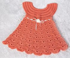 """Crochet Pattern Baby Dress""""-by AsmartPattern Size months Detailed description in English step by step and row by row Baby Clothes Patterns, Baby Patterns, Knitting Patterns, Crochet Patterns, Crochet Baby Cardigan, Crochet Baby Clothes, New Baby Dress, Crochet For Kids, Easy Crochet"""