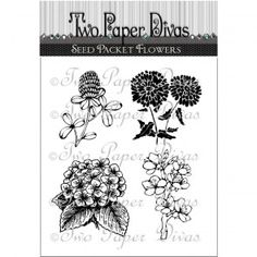 Two Paper Divas Clear Stamps, Seed Packet Flowers