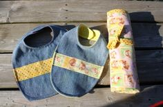 Easy, inexpensive homemade baby gifts: repurposed denim bibs and extra-large, double-sided receiving blankets. Both require only basic sewing skills.