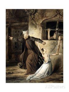Notre-Dame de Paris - Frollo, Esmeralda et La Sachette Giclee Print by Louis Boulanger at AllPosters.com