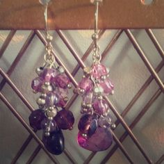 Purple and gold earrings. Purple and gold bead earrings. The Limited Jewelry Earrings