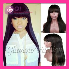 Find More Wigs Information about GQ 24 inch Brazilian lace front human hair wigs nicki minaj wig glueless full lace wigs with bangs 1b cheap human wig straight,High Quality Wigs from Glamour Fashion Hair CO.,LTD on Aliexpress.com