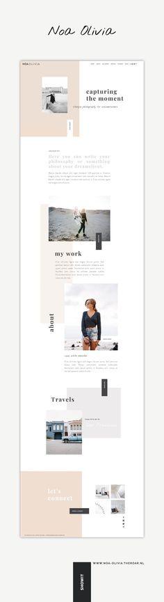 One-of-a-kind Showit template Noa Olivia voor een statement website met creatieve vrijheid. Web Design Trends, Web Design Tips, Best Web Design, Layout Design, Blog Design, Design Ideas, Website Design Inspiration, Graphic Design Inspiration, Template Web