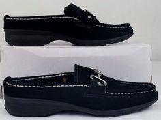 COLE HAAN BLACK Suede Leather Shearling Lined WATERPROOF Mules 6 medium EX USED #ColeHaan #Mules