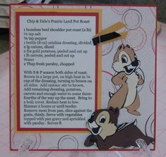 disney recipe - Homemade Cards, Rubber Stamp Art, & Paper Crafts - Splitcoaststampers.com