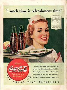 """1940 Coca-Cola Soda Pop Original Food And Drink Print Ad -An original vintage 1940 advertisement, not a reproduction -Measures approximately 10"""" x 13"""" to 11"""" x 14"""" -Ready for matting and framing."""