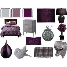 """Grey and Dark Lavender Bedroom"" by pet387 on Polyvore"