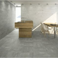 Concrete effect floor tiles