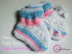 Sugar Candy Stripes: Crochet New Born Baby Booties - Media - Crochet Me